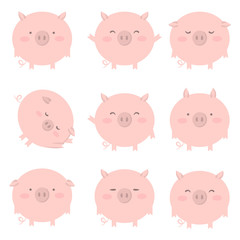 Set of 9 pink pig with different emotions. Vector isolated illustration