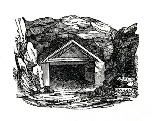 Possible burial cave of the king of Judah (from Das Heller-Magazin, August 9, 1834)
