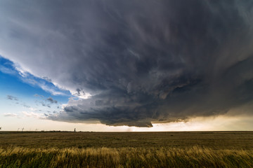 Supercell thunderstorm spinning across southeastern Colorado. Wall mural