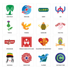Set of copyright free, plumber, rastaman, volunteer fire department, steakhouse, queen bee, thistle, sorry, saudi palm icons