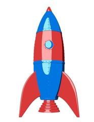 Cartoon rocket on white background