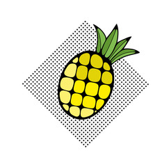 Hand drawn pineapple on the dot pattern.