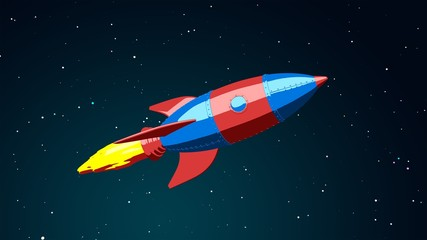 Cartoon rocket flying in the space