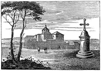 La Rábida Friary, Spain (from Das Heller-Magazin, July 26, 1834)
