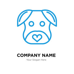 minimalist dog company logo design template, colorful vector icon for your business, brand sign and symbol