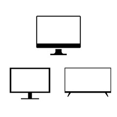 Vector Illustration Monitor TV . Monitor Icon in Black and White