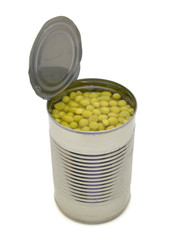Canned green peas isolated on white