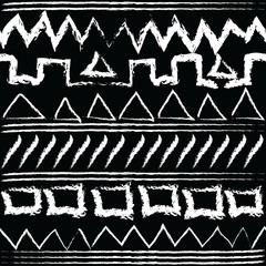 Tribal doodle grunge chalk border seamless pattern. Old aztec style abstract background. Geometric shapes, lines, stripes, triangles, squares, zigzag. Ethnic hand drawn ornaments. African tribe style