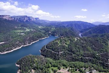 Aerial view of the marsh of Sau in Spain.
