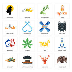 Set of grizzly bear, deer head, bike shop, taxi, democrat, snowboard, stick figure, olive branch, black wolf icons