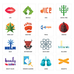 Set of baguette, lungs, beauty salon, celtic knot, helm, triple, weed leaf, dice, lips icons