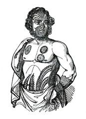 Tattoos of Māori - indigenous man of New Zealand (from Das Heller-Magazin, July 12, 1834)
