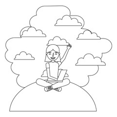 young girl sitting using laptop clouds background vector illustration thin line