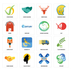 Set of cyclist, snowboard, hand shake, free delivery, home paint, hands shaking, barn, deer head, checkmark icons