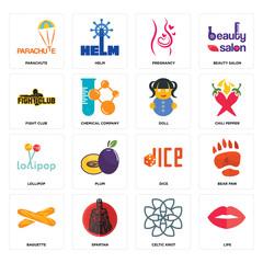 Set of lips, celtic knot, baguette, dice, lollipop, doll, fight club, pregnancy, parachute icons