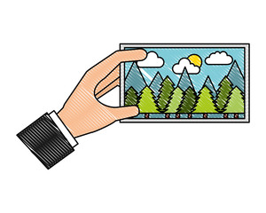 hand holding piece of art picture vector illustration drawing