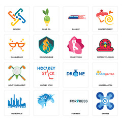 Set of drones, fortress, metropolis, , golf tournament, yoga studio, masquerade, railway, generic icons