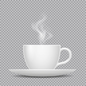 Vector realistic white cup with hot beverage and steam isolated on transparent background