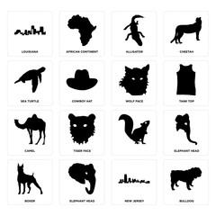 Set of bulldog, new jersey, boxer, , camel, wolf face, sea turtle, alligator, louisiana icons