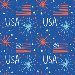 4th of July seamless pattern background