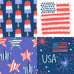 4th of July seamless pattern set