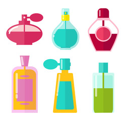 Perfumes in Bottles Collection Vector Illustration