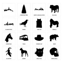 Set of simple skull, wolf face, alligator, cowboy hat, horse tank top, illinois state, north carolina  icons