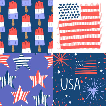 4th of July seamless pattern set