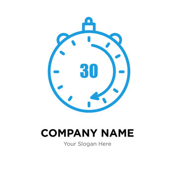 30 minutes company logo design template, colorful vector icon for your business, brand sign and symbol