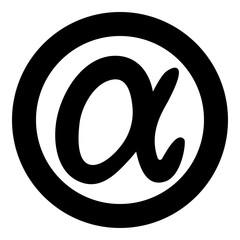 Symbol alpha icon black color vector illustration simple image
