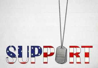 military dog tags with American flag design in the word support on light gray wood background