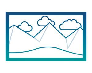 picture art landscape mountains sky decoration vector illustration neon color