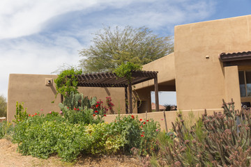 Covered Patio and Garden in Desert Home