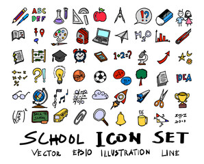 Hand drawn Sketch doodle vector line School element colour icon set on white eps10