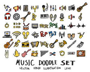 Hand drawn Sketch doodle vector line Music element colour icon set on white eps10