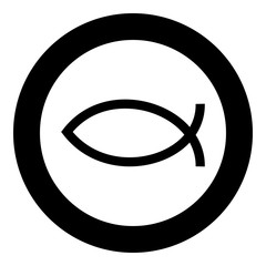 Symbol fish icon black color vector illustration simple image