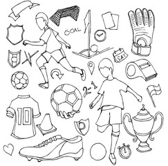 Hand drawn Sketch doodle vector line Soccer element icon set on white eps10