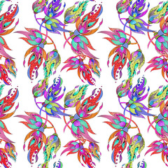 Collage of flowers, leaves and buds on a white background. Seamless pattern.