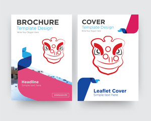 lion dance brochure flyer design template