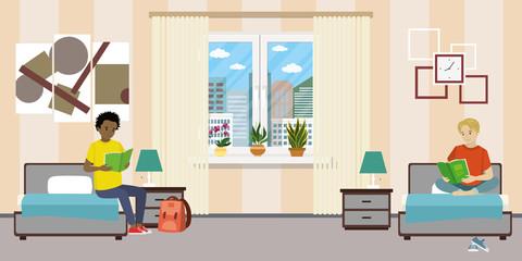 Cartoon teen male students in dormitory room.