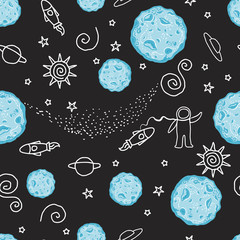 Vector Doodle seamless pattern space.