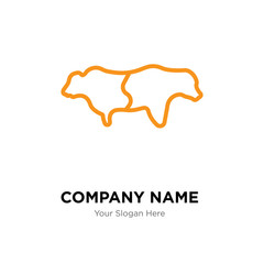 bull bear company logo design template, colorful vector icon for your business, brand sign and symbol