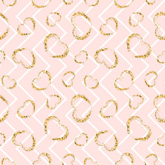 Gold heart seamless pattern. Pink-white geometric zig zag, golden grunge confetti-hearts. Symbol of love, Valentine day holiday. Design wallpaper, background, fabric texture. Vector illustration