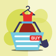 shopping basket dress female clothes online buy vector illustration
