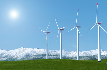 Wind turbines on a green grass field against blue sky background, 3D rendering