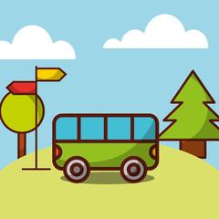 time travel bus transport tourism natural landscape vector illustration