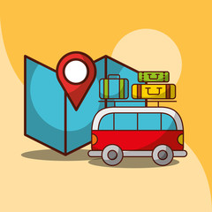 van car travel map location and baggage vector illustration