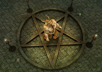Fantasy goat demon inside of a pentacle.