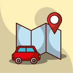time to travel car and navigation map gps vector illustration