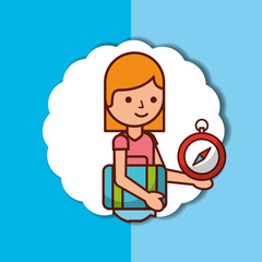 time to travel cartoon girl and suitcase compass vector illustration